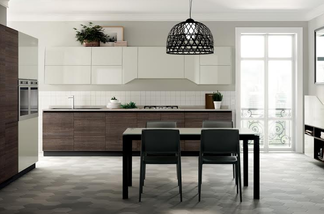 Flux Swing - New shaped elements for dynamic styling from Scavolini